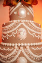 Brown and White Wedding Cake Stock Image