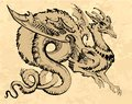 Brown winged dragon in asia style with a long tail Royalty Free Stock Photo
