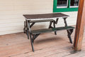 Brown wood bench with table Royalty Free Stock Images