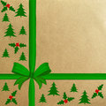 Brown wrapping paper with a red ribbon Royalty Free Stock Photo