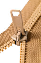 Brown zip with metal teeth Stock Images