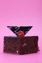 Brownie cake with Turkish delight insertions on magenta background Royalty Free Stock Photo