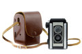 Brownie camera and camera bag retro Stock Photo