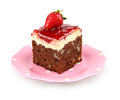 Brownie with nuts strawberry jam and cheesecake in a pink plate isolated on white Royalty Free Stock Photo