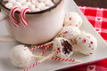 Brownie peppermint cake pops on white plate with mug of hot chocolate and marshmallows Royalty Free Stock Photography
