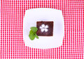Brownie on   plate Royalty Free Stock Photography