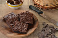 Brownies chocolate dish and ingredients Stock Image