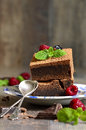 Brownies decorated with raspberry and mint leaf on rustic background Stock Photo