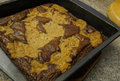 Brownies in pan chocolate chip fresh out of the oven Royalty Free Stock Photos
