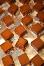 Brownies presentation of cut in square for dessert Royalty Free Stock Photography