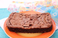 Brownies some fresh homemade on a plate Stock Image