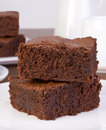 Brownies traditional served on a plate Royalty Free Stock Images