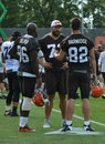 Browns training camp teammates discussing plays on the field during nfl cleveland at their practice facility in berea ohio august Stock Photography
