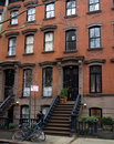 Brownstone with bikes a typical apartment in manhattan nyc Royalty Free Stock Image