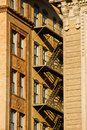 Brownstone fire escape Royalty Free Stock Images