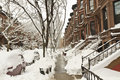 Brownstones Buried in Snow Royalty Free Stock Image