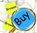 Browse buy post it papers show shopping around and purchasing showing Stock Photography