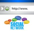 Browser window shows a social network Stock Images
