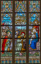 Bruges the adoration of magi scene on the windowpane in st salvator s cathedral salvatorskerk belgium june Stock Images