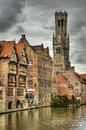 Bruges belfry in the old town of belgium hdr Royalty Free Stock Image