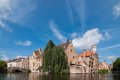 Bruges belgium classic view of channels of Royalty Free Stock Photography