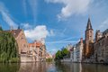 Bruges belgium classic view of channels of Royalty Free Stock Images