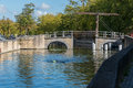 Bruges belgium europe september bridge over a canal in b west flanders on unidentified person Stock Image