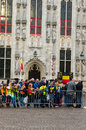 Bruges belgium october people wait in the streets to welcome the king philippe of belgium on october in belgium king albert Stock Photography