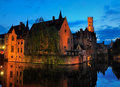 Bruges brugge belgium night picture one th canals can be seen Royalty Free Stock Image