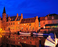 Bruges brugge belgium night picture one th canals can be seen Stock Photo
