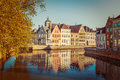 Bruges brugge belgium vintage retro hipster style travel image of canal and medieval houses Royalty Free Stock Image