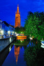 Church of Our Lady by Night - Bruges Royalty Free Stock Photo