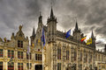 Bruges buildings in the old town of belgium hdr Royalty Free Stock Photography
