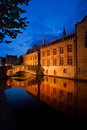 Bruges buildings reflected in canal Royalty Free Stock Photo