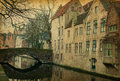 Bruges canals one of belgium photo in retro style added paper texture Royalty Free Stock Photos