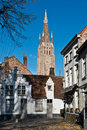 Bruges church of our lady tower Stock Image