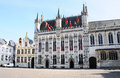 Bruges city hall and open chambres oude griffie on burgplatz belgium Stock Images