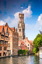 Bruges, Flanders, Belgium - Water canal with flemish houses. Royalty Free Stock Photo