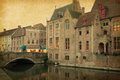 Bruges historic centre belgium photo in retro style paper texture Royalty Free Stock Images