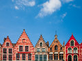 Bruges houses on the market square in Stock Photography