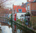 Bruges one of canals belgium Royalty Free Stock Photos