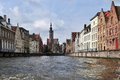 Brugge flemish architecture along water canal in belgium Royalty Free Stock Photos
