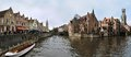 Brugge the historical buildings with groenerei and dijver boat canals in the centre of belgium Royalty Free Stock Photos