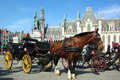 Brugge. Horse-driven cab. Royalty Free Stock Photo
