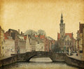 Brugge one of the numerous bridges in belgium photo in retro style paper texture Stock Photography