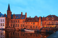 Brugge romantic view on the channel in belgium bruges historic centre at night view from the rozenhoedkaai Stock Image
