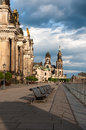Bruhl terrasse in dresden under dramatic sky Stock Image