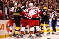 Bruins Hurricanes fight Stock Images