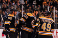Bruins score johnny boychuk zdeno chara and rich peverley celebrate a goal Royalty Free Stock Image