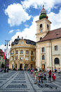 Brukenthal palace and catholic church sibiu romania one of the most important baroque monuments in lies on the north western Stock Photos